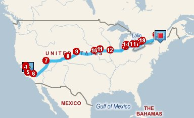 A map from Los Angeles to Montreal